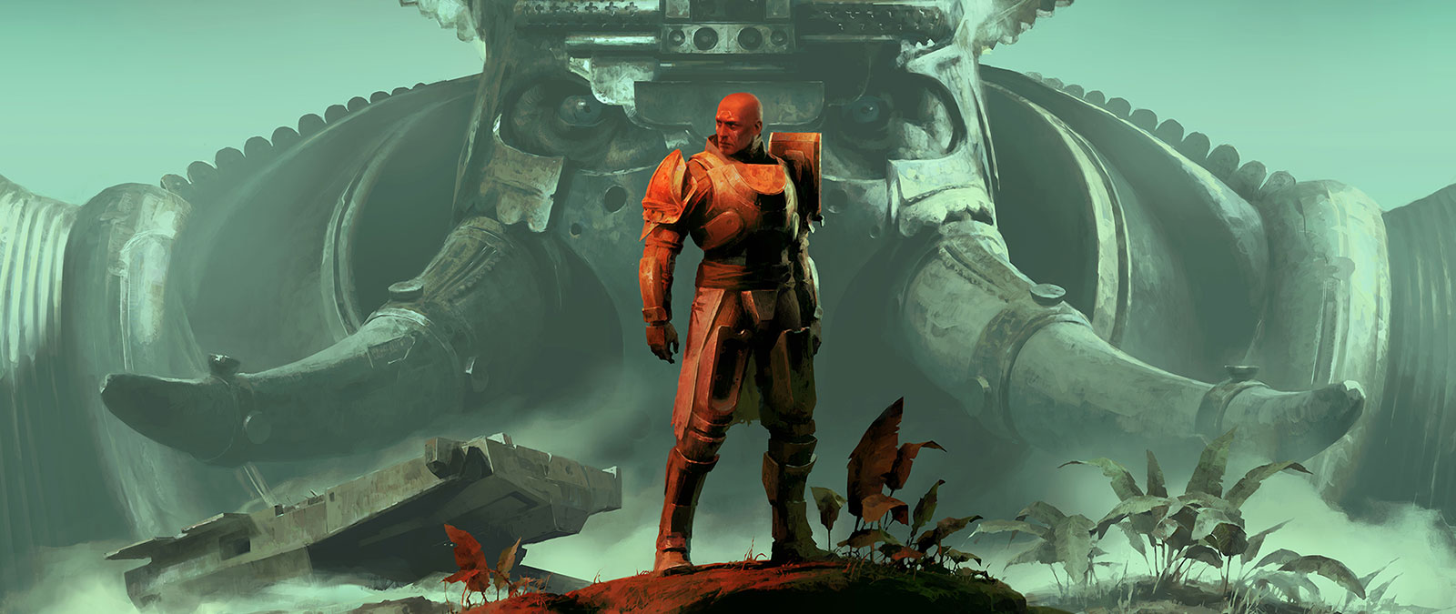 Commander Zavala stands on a mound of dirt in front of a massive face wearing a helmet