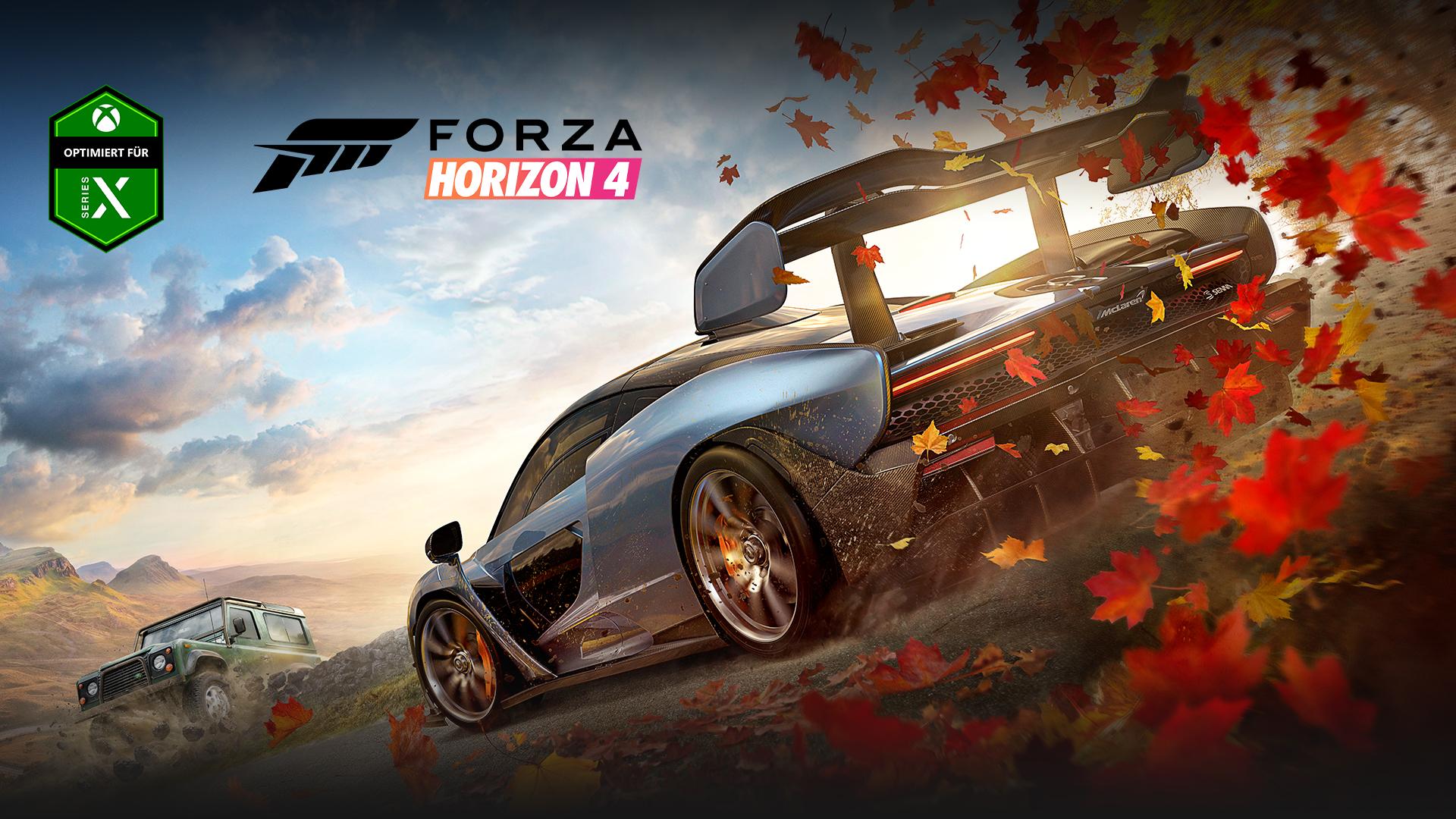 Optimiert für Xbox Series X, Forza Horizon 4, zwei Autos mit Blättern hinter einem von ihnen