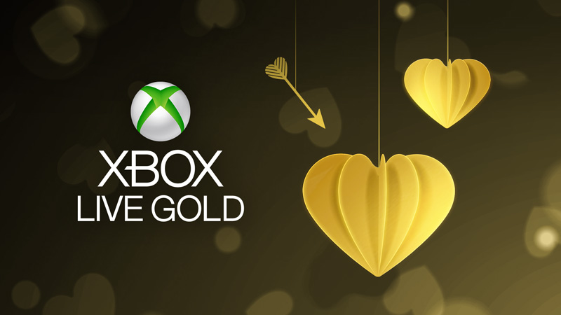 The Xbox Live Gold logo surrounded by golden hearts