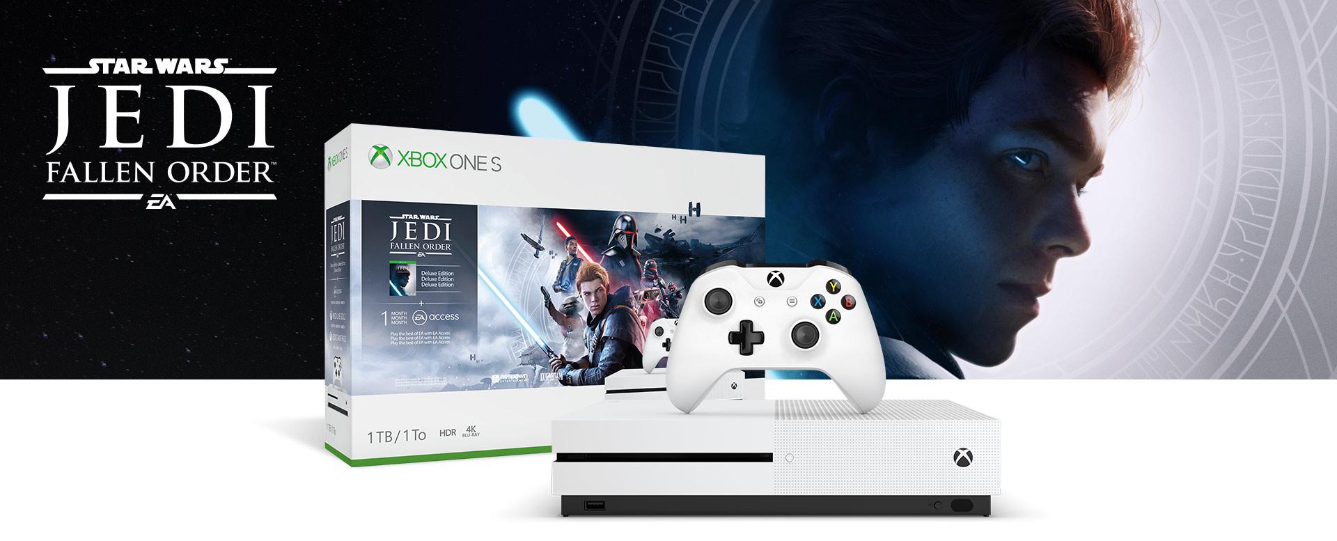 Xbox One S-console voor een hardwarebundelverpakking met Star Wars Jedi: Fallen Order-logo