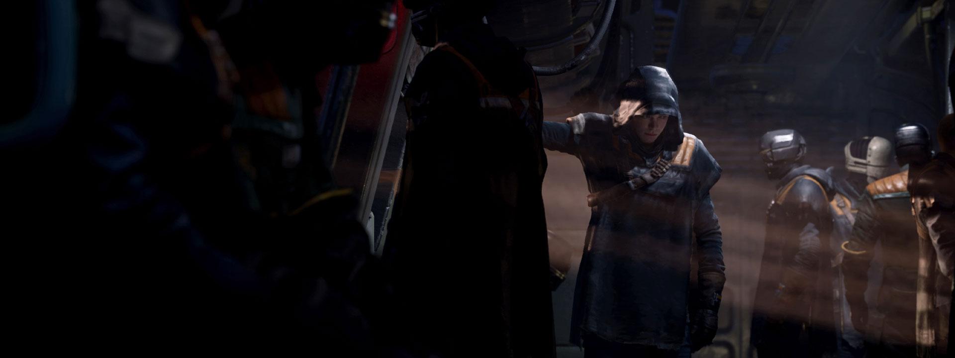 Cal Kestis se cache le visage sous une capuche dans un véhicule rempli de personnes