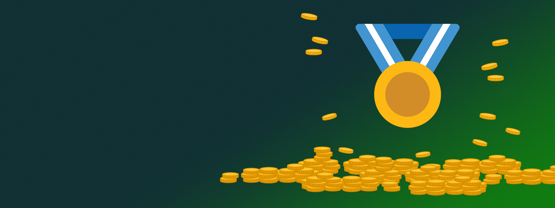 A gold medal and a pile of gold coins