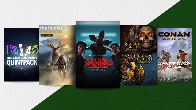 A collection of games that are part of the Big Bundle sale, including Dead by Daylight: Stranger Things Bundle, theHunter: Call of the Wild - 2021 Edition, Baldur's Gate and Baldur's Gate II Enhanced Editions, The Jackbox Party Quintpack and Conan Exiles - Complete Edition May 2020