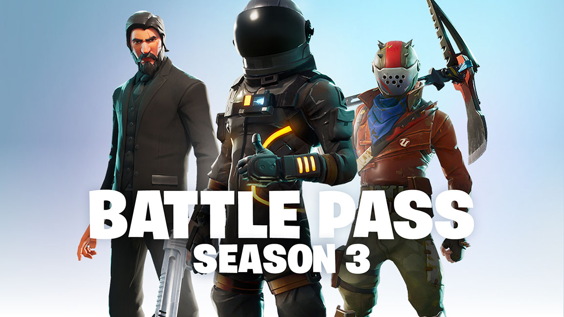 Battle Pass Season 3, 3 characters in different outfits