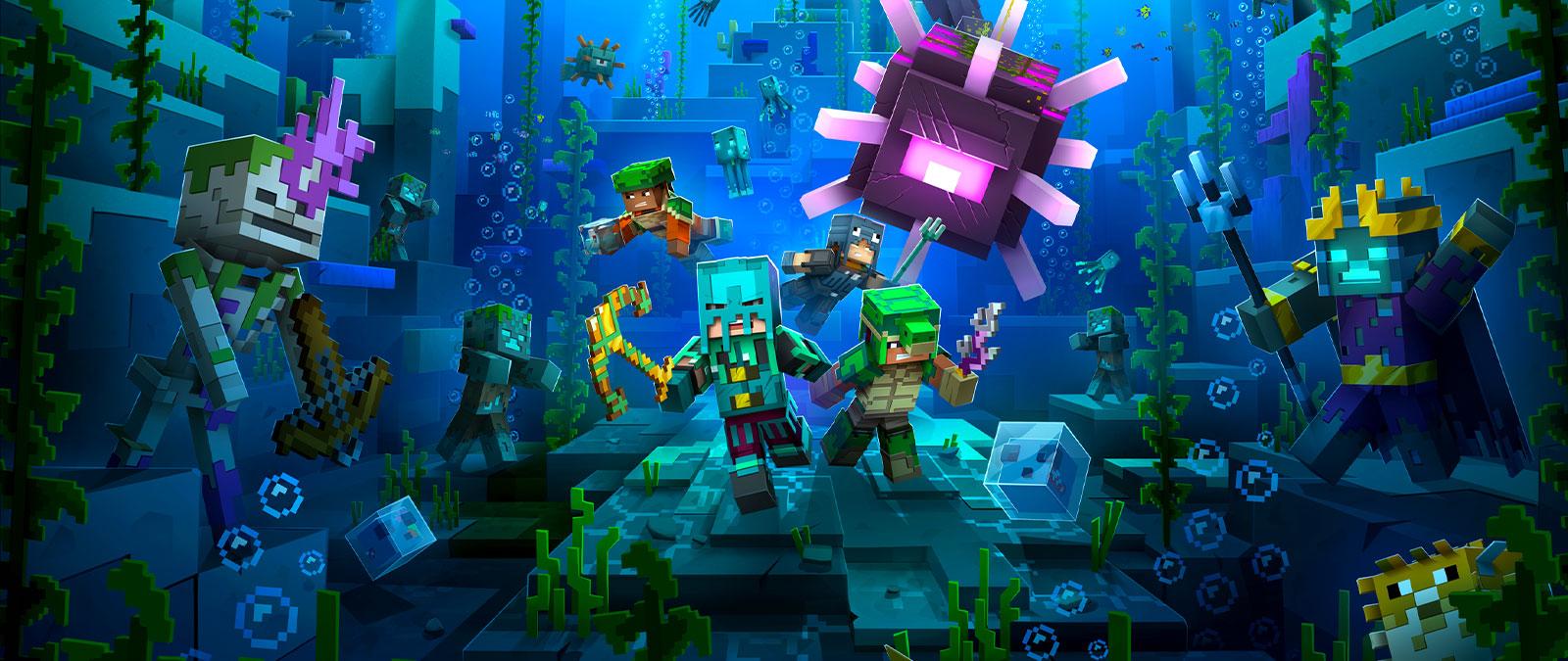 Postacie z gry Minecraft Dungeons w podwodnym lochu z kilkoma wrogami