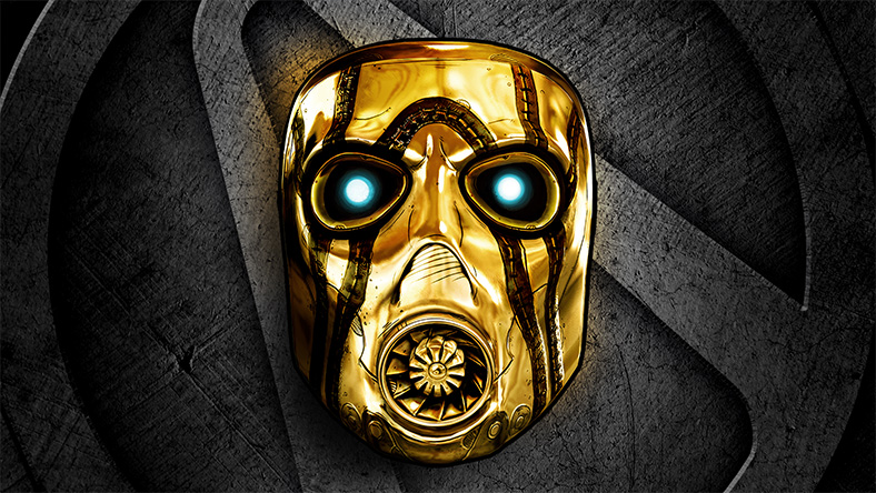 A shiny gold pyscho mask on a metal background.