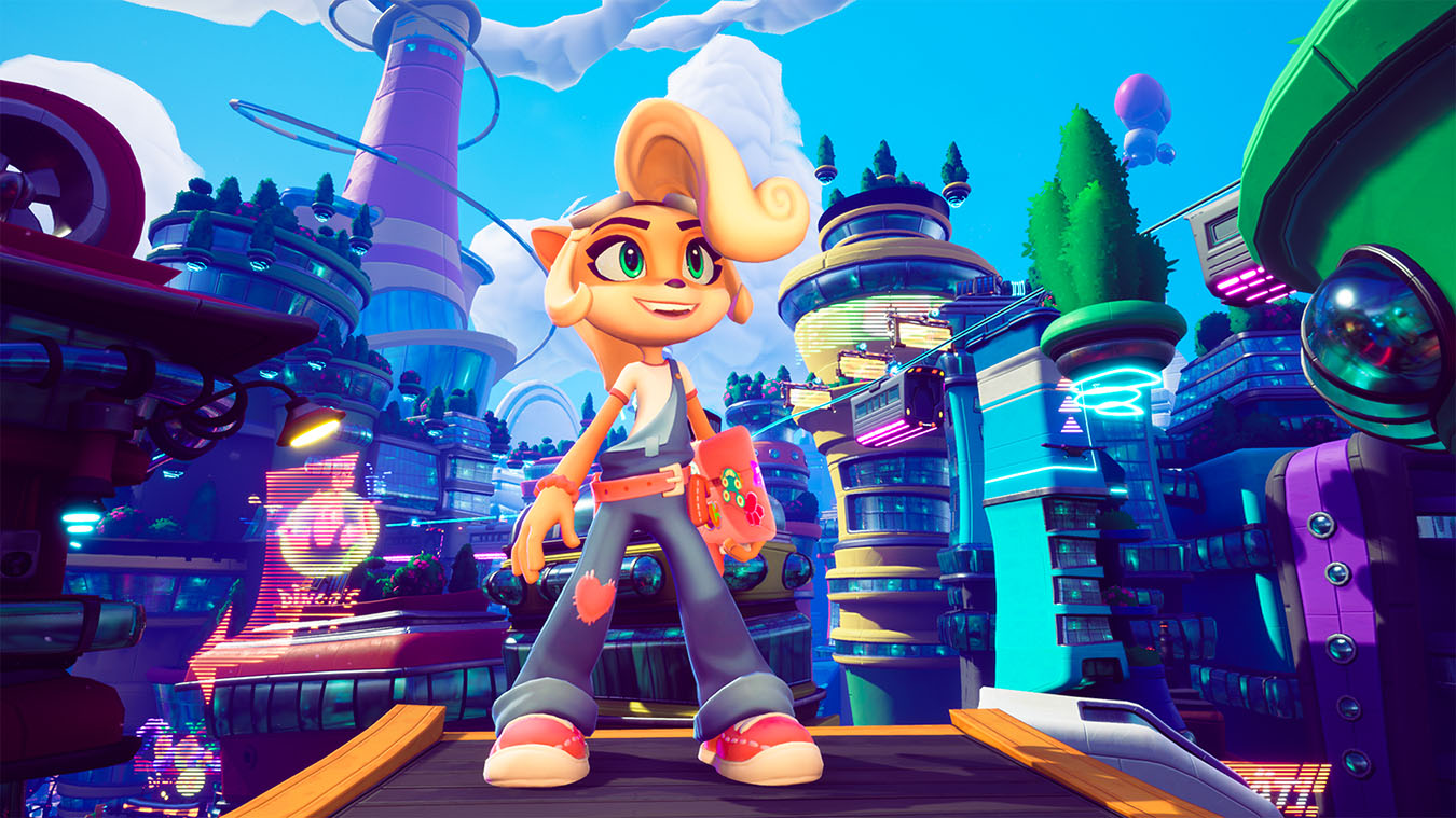 update main gallery with image: Coco smiles with a bright city in the background in Crash Bandicoot 4.