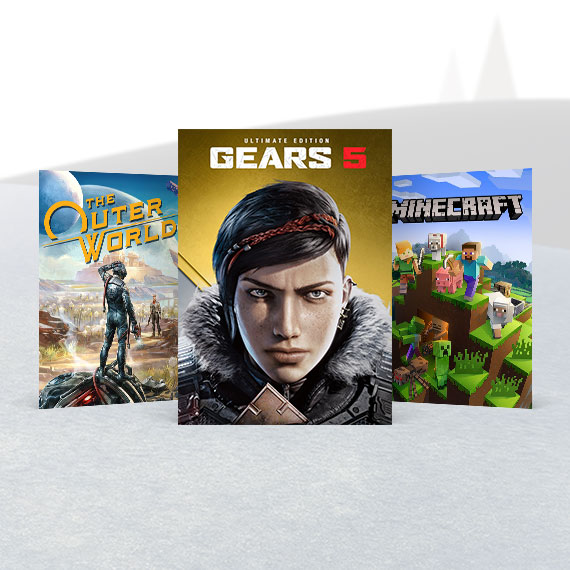 Gears 5 Ultimate, Minecraft, and The Outer Worlds pack shots sitting in the snow