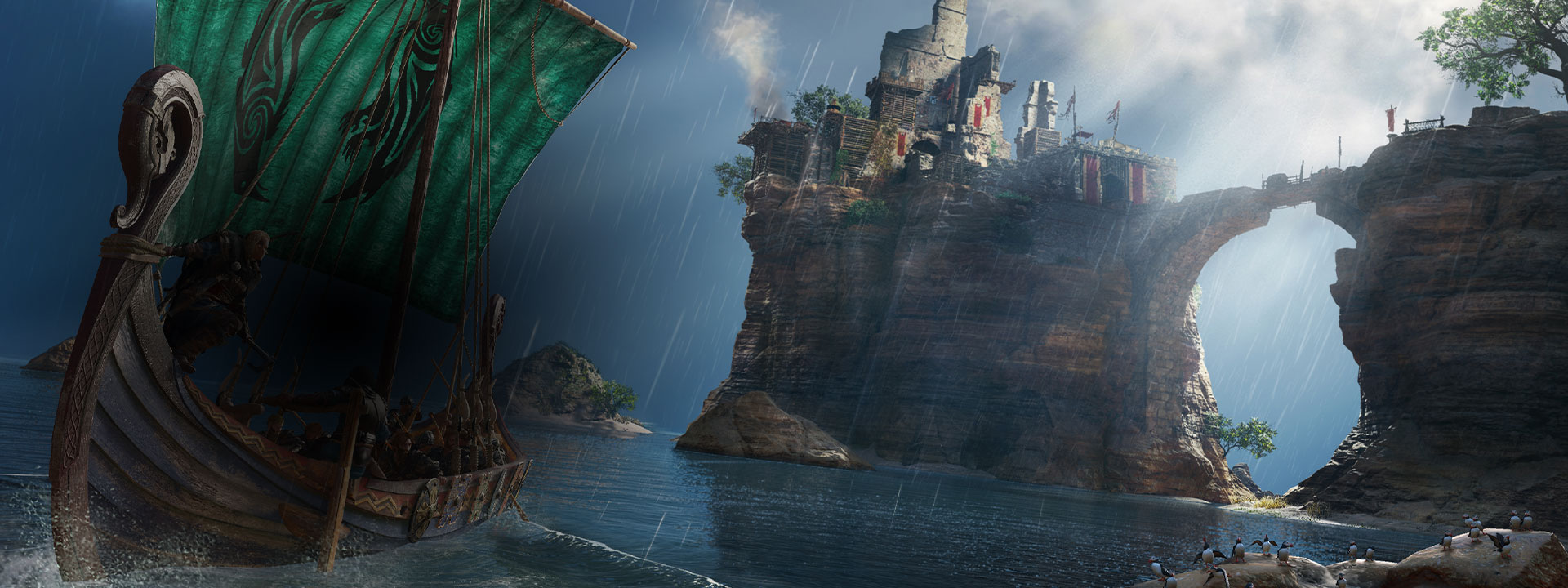 A ship sailing away from a castle from Assassin's Creed Valhalla