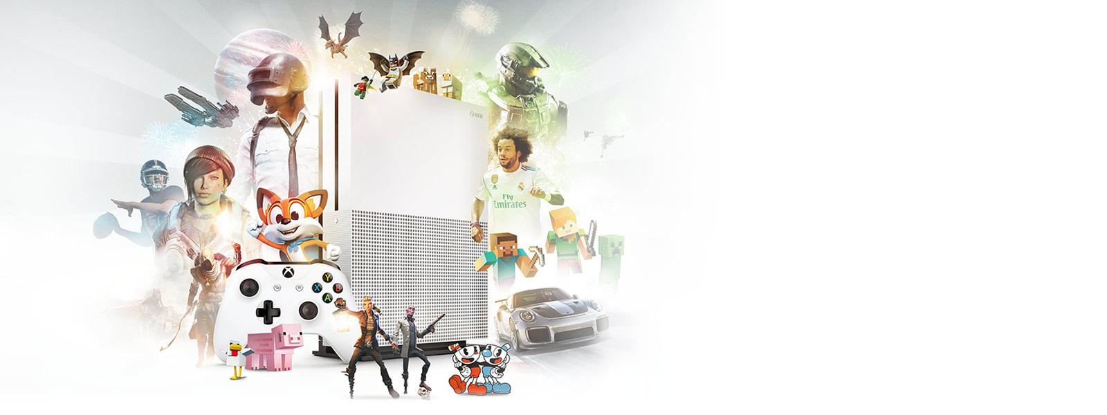 Xbox One S と Xbox ワイヤレス コントローラーの周りに Xbox ゲーム画面のコラージュ