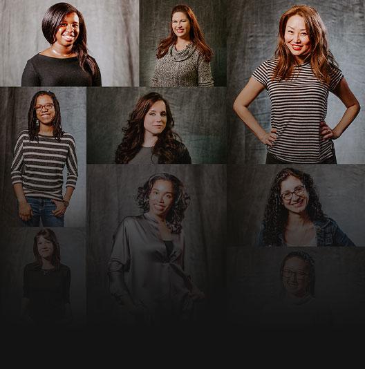Mosaico de retratos individuales de mujeres que trabajan en Xbox