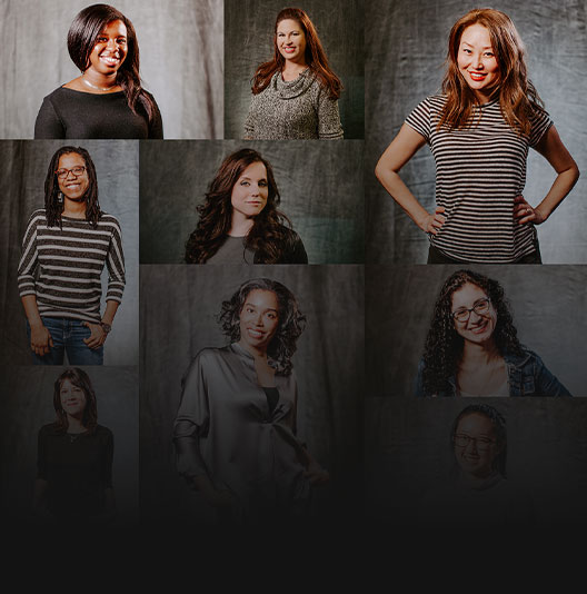 Mosaïque de portraits individuels de femmes travaillant chez Xbox