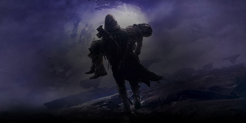 Destiny 2 Forsaken, Cayde-6 carried by an unknown person on an asteroid