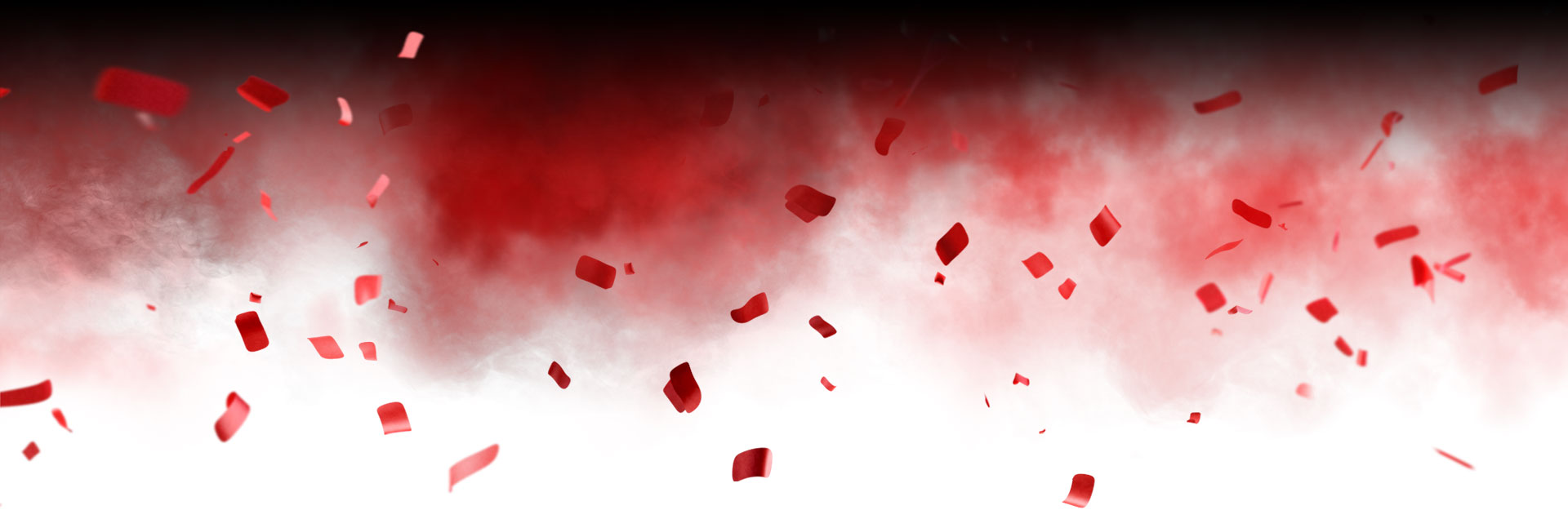 Black background with red smoke and red confetti.