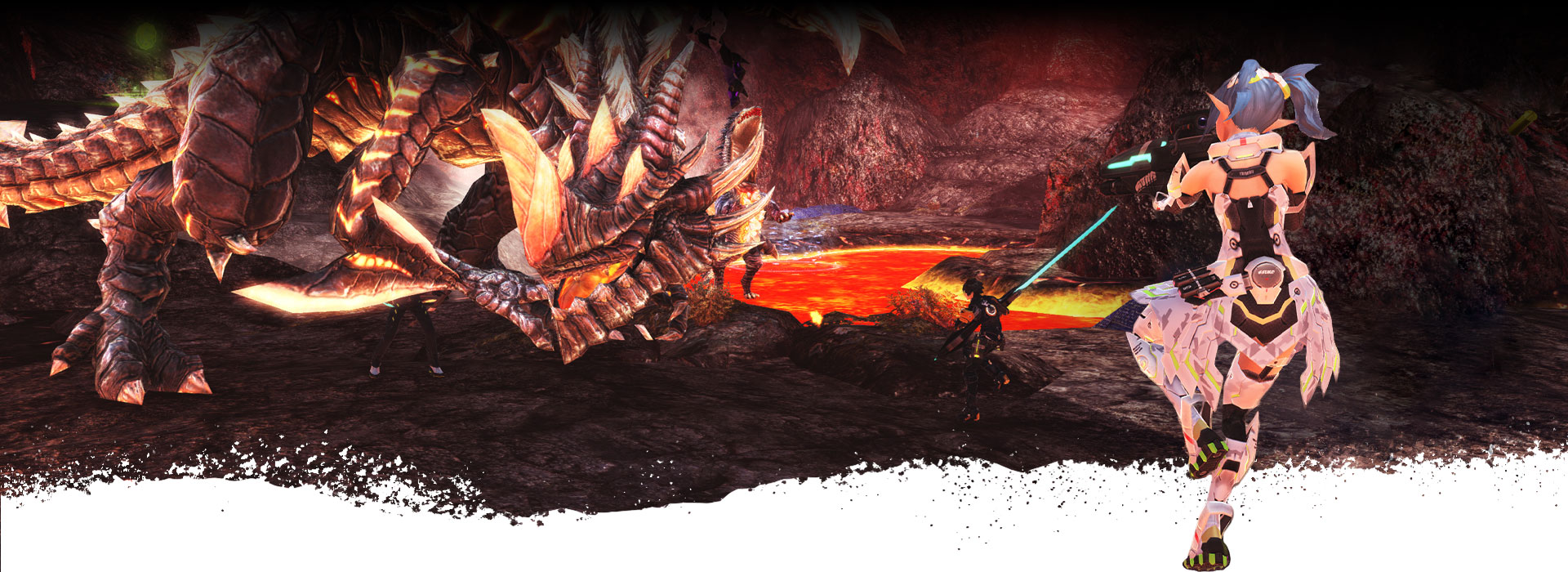 Characters run towards a giant dragon monster with their weapons drawn.