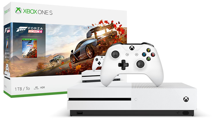 box and console shot of Xbox One S Forza Horizon 4 Bundle (1TB)