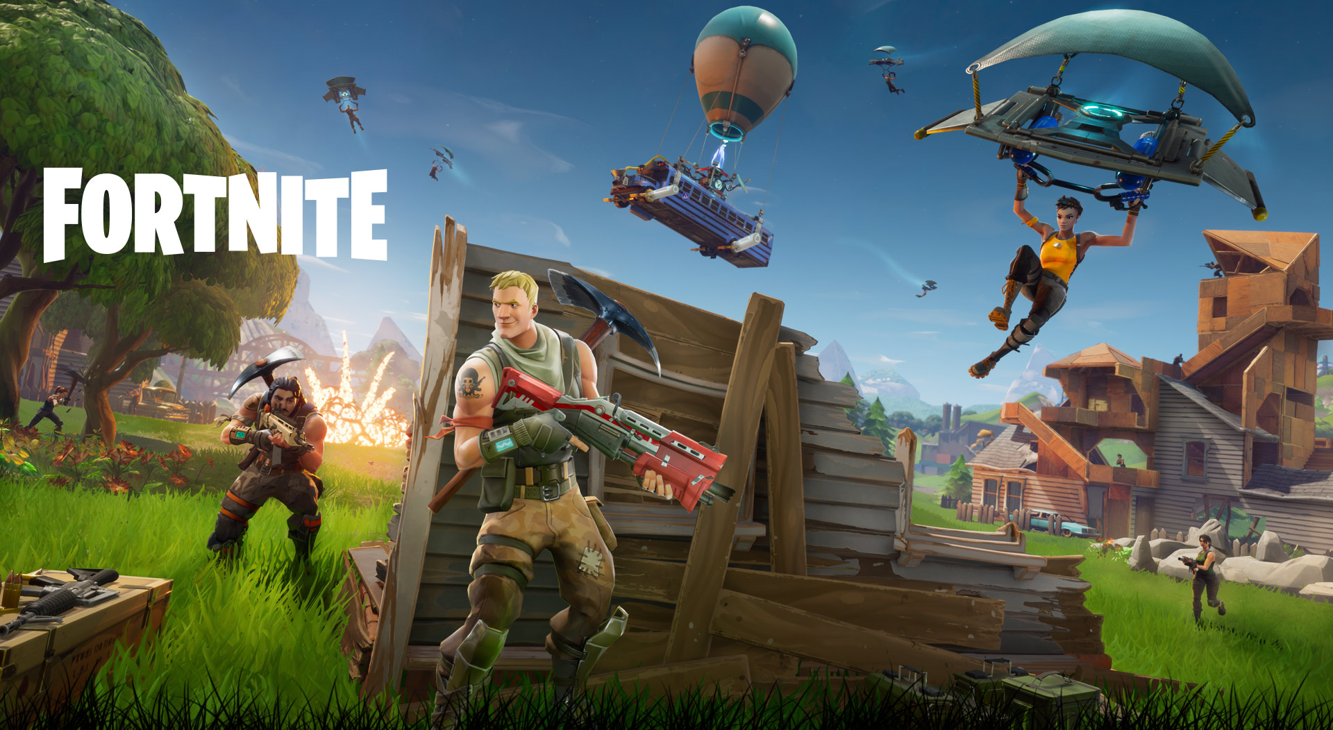 Fortnite, Character hiding being a partially destroyed wall as other players land after jumping from the battle bus