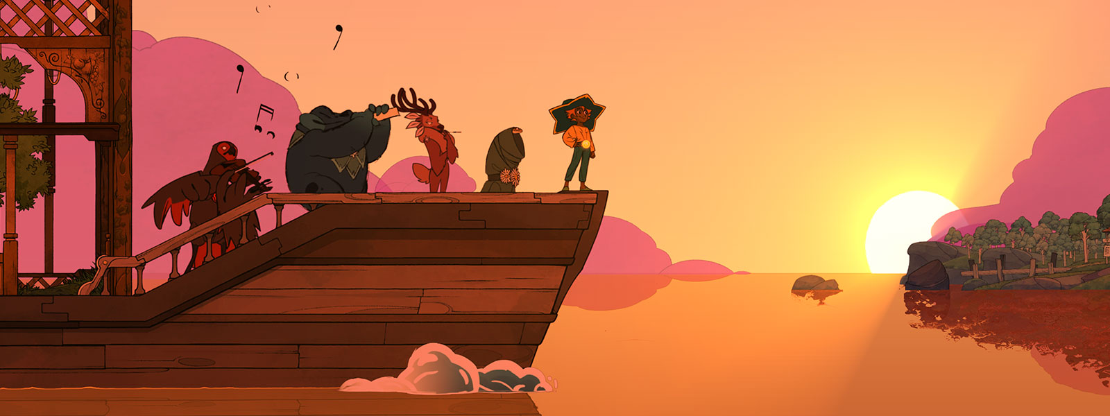 Five characters lines up on the end of a boat during a sunset with two of the characters playing music