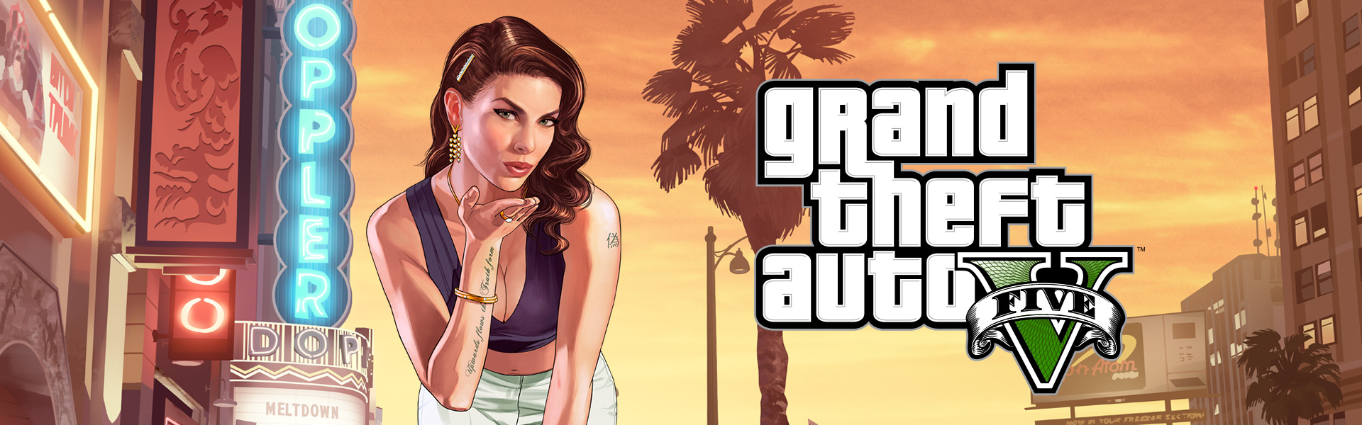 Grand Theft Auto V, Girl leaning forward blowing a kiss with sunset behind her