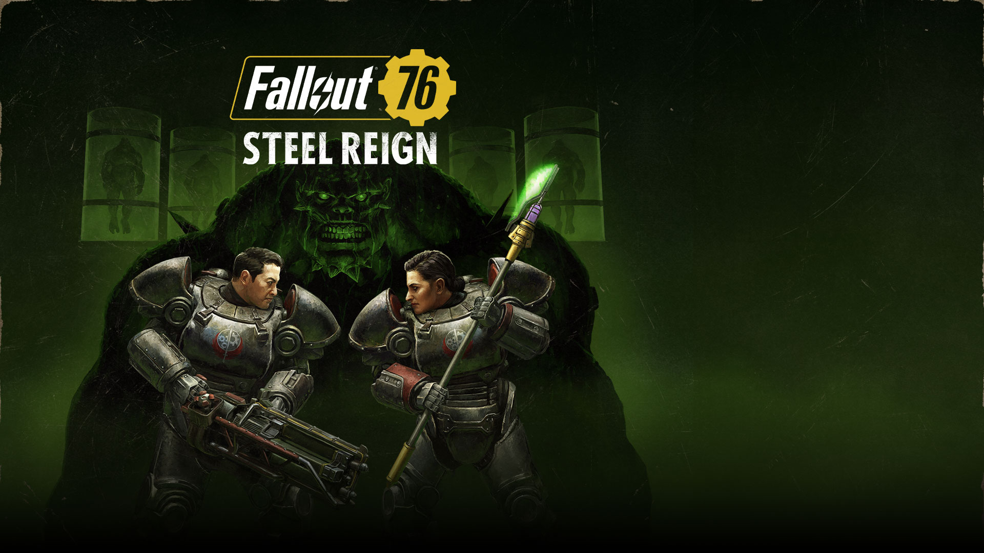 Fallout 76 Steel Reign, two characters in Power Armor face off with a big monster in the background.