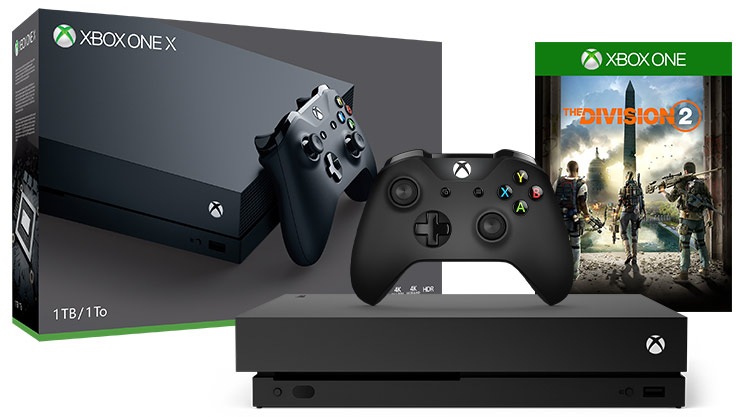 box and console shot of Xbox One X Division 2 Bundle (1TB)