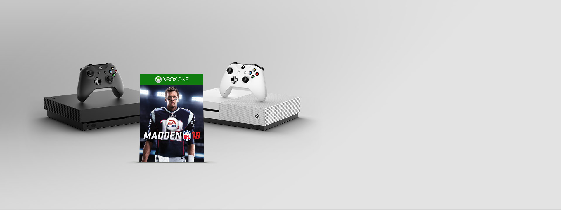 Xbox One X and Xbox One S with Madden 18 boxshot inbetween