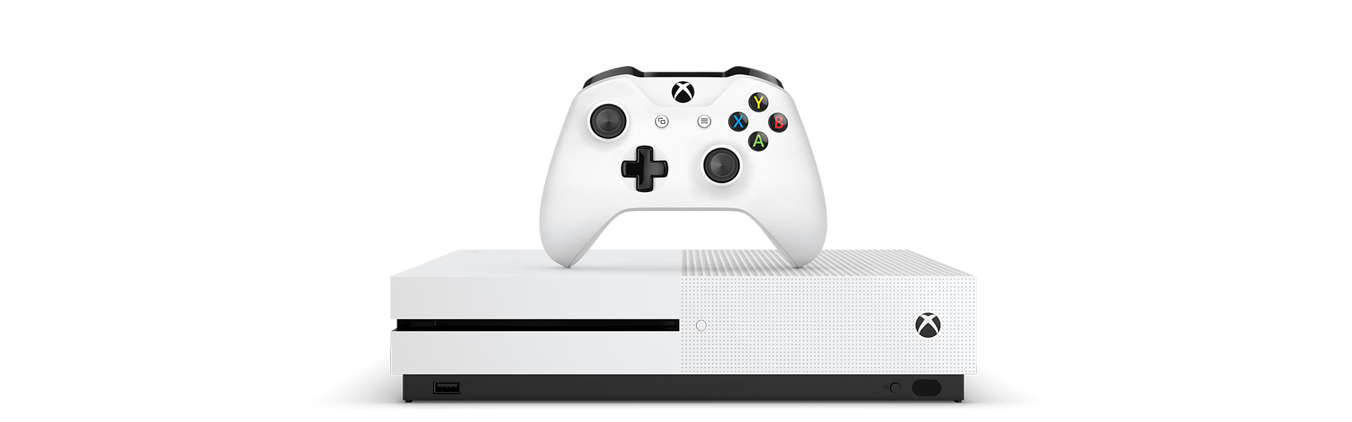Xbox One S set forfra med en Xbox Wireless Controller på toppen