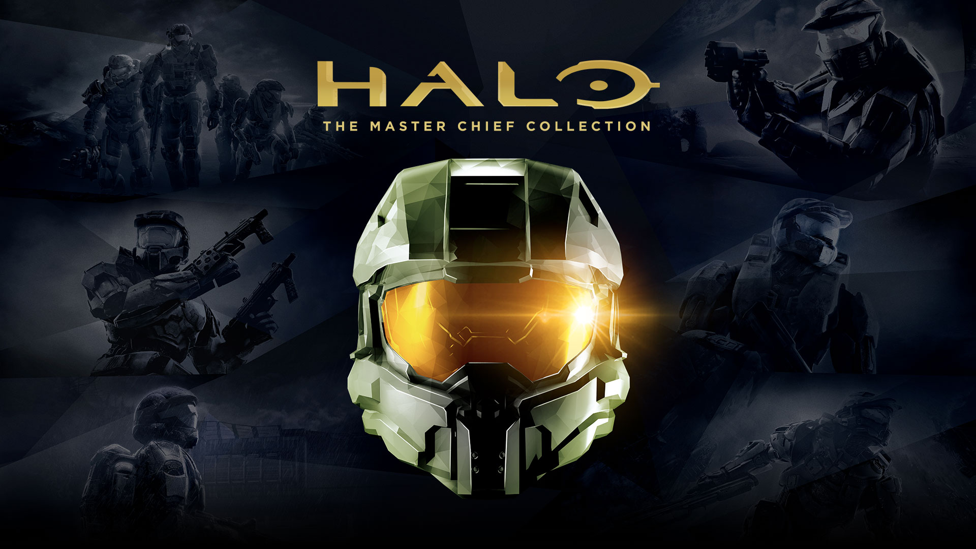 Halo The Master Chief Collection, Master Chief helmet against transparent background of Halo box shots