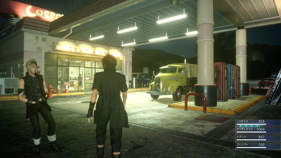 Prompto and Noctis stop for petrol