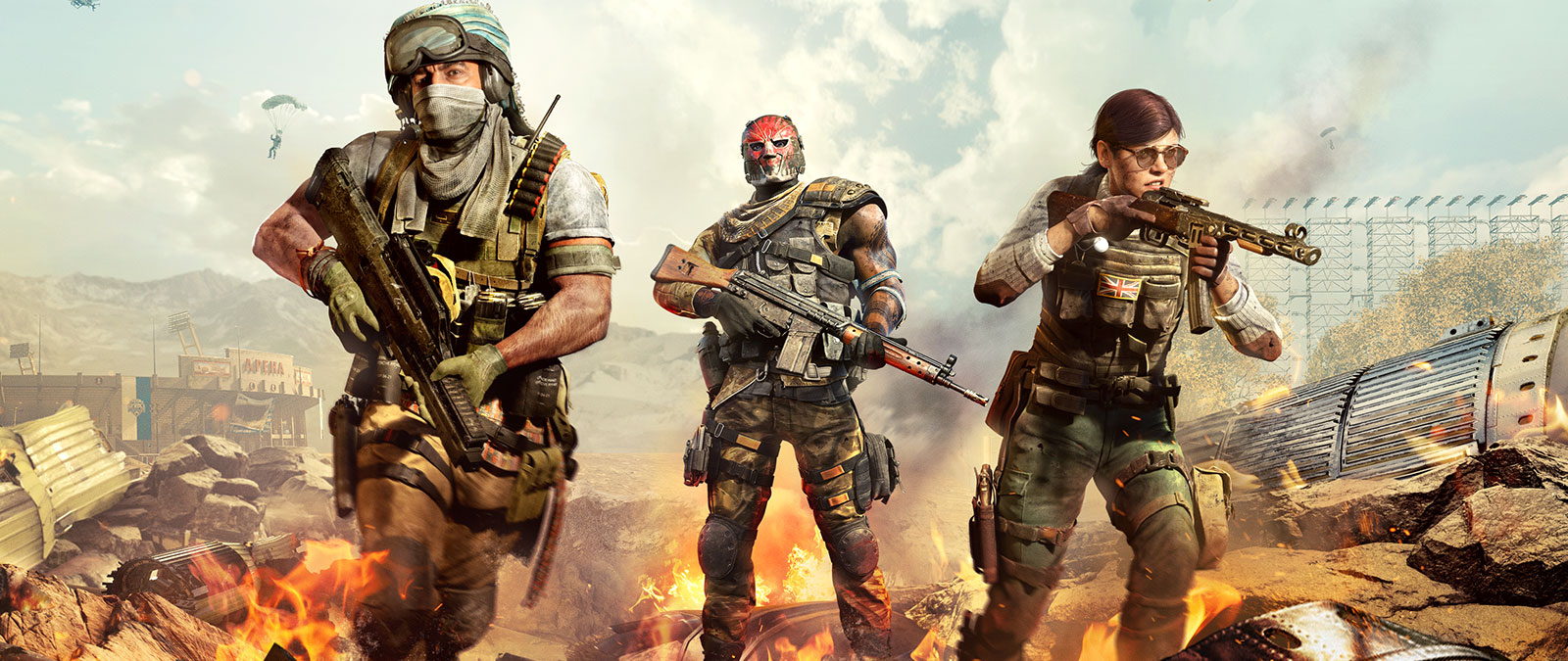 Three characters holding guns in a war zone.