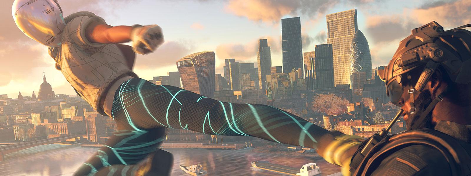 Personaje que patea en el aire con el fondo de una ciudad