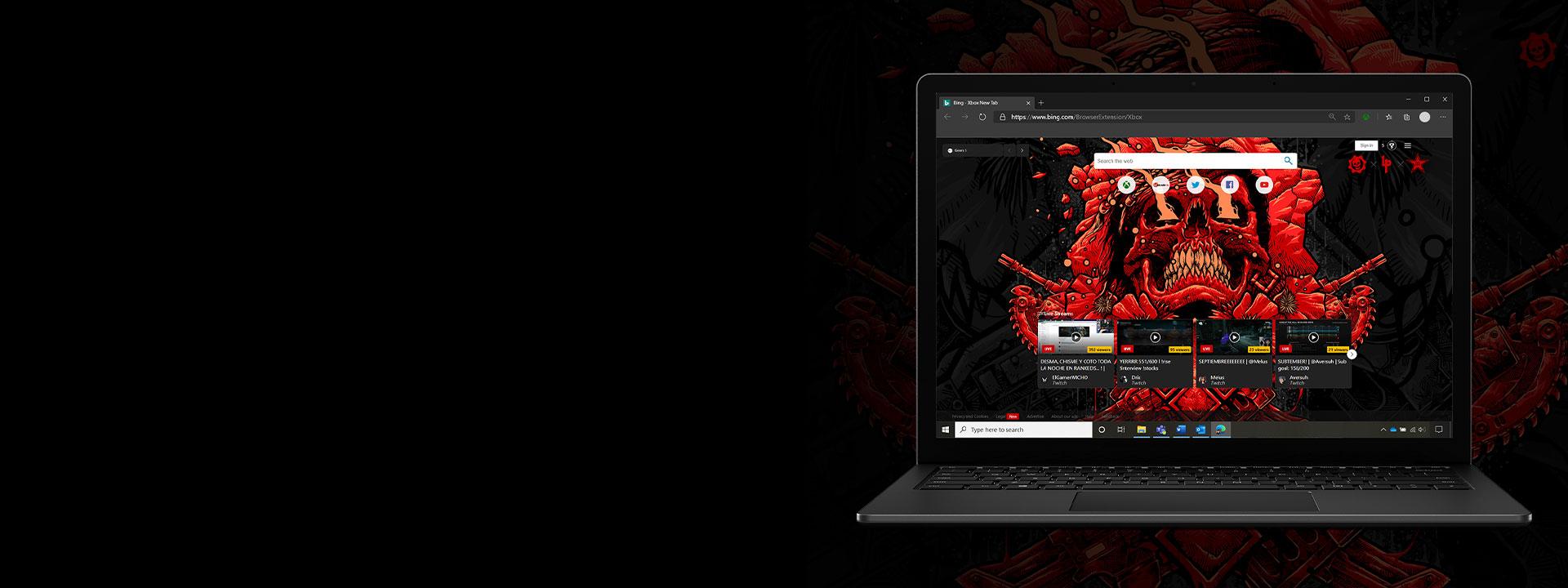 Ноутбук с расширением Gears 5 для Bing