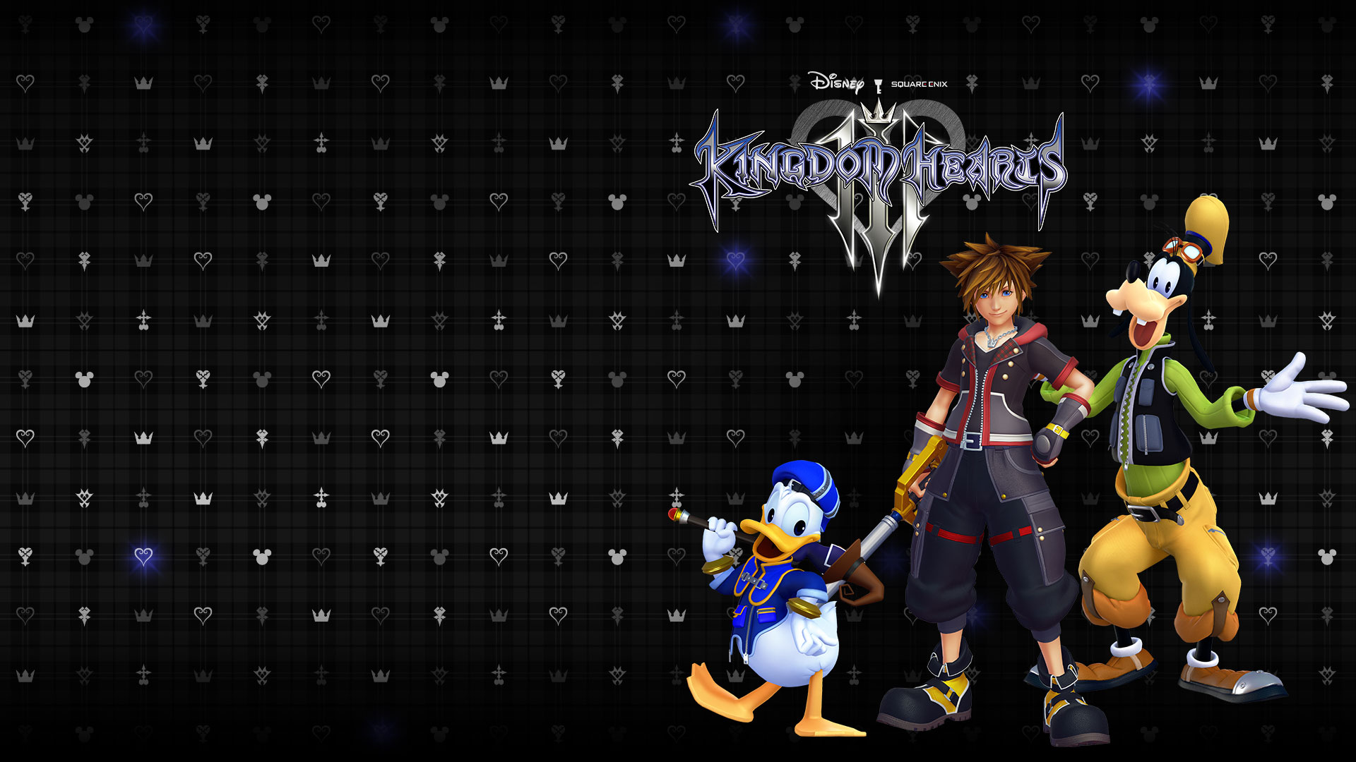 Kingdom Hearts III, front view of Sora, Donald and Goofy in front of a background full of hearts and Mickey Mouse logos