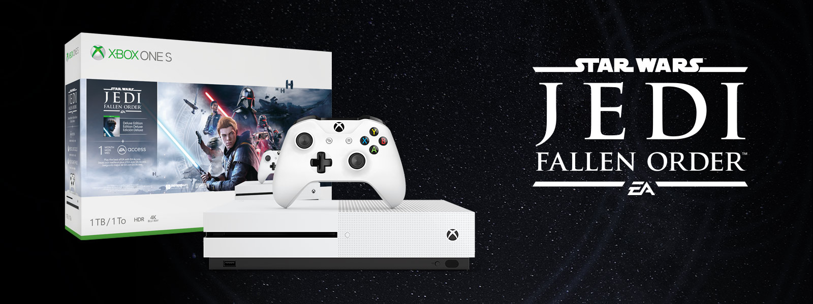 Xbox One S Star Wars Jedi: Fallen Order bundle art in front of a starry night sky