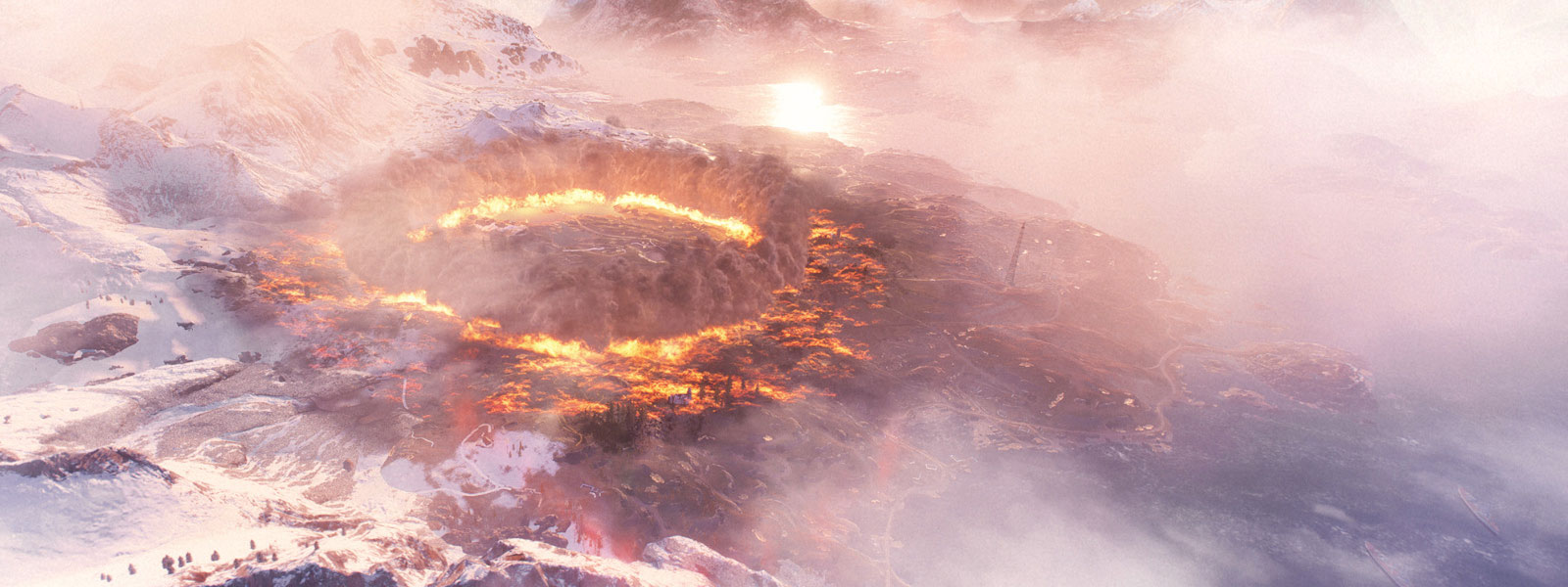 An explosion has left a crater in a firestorm