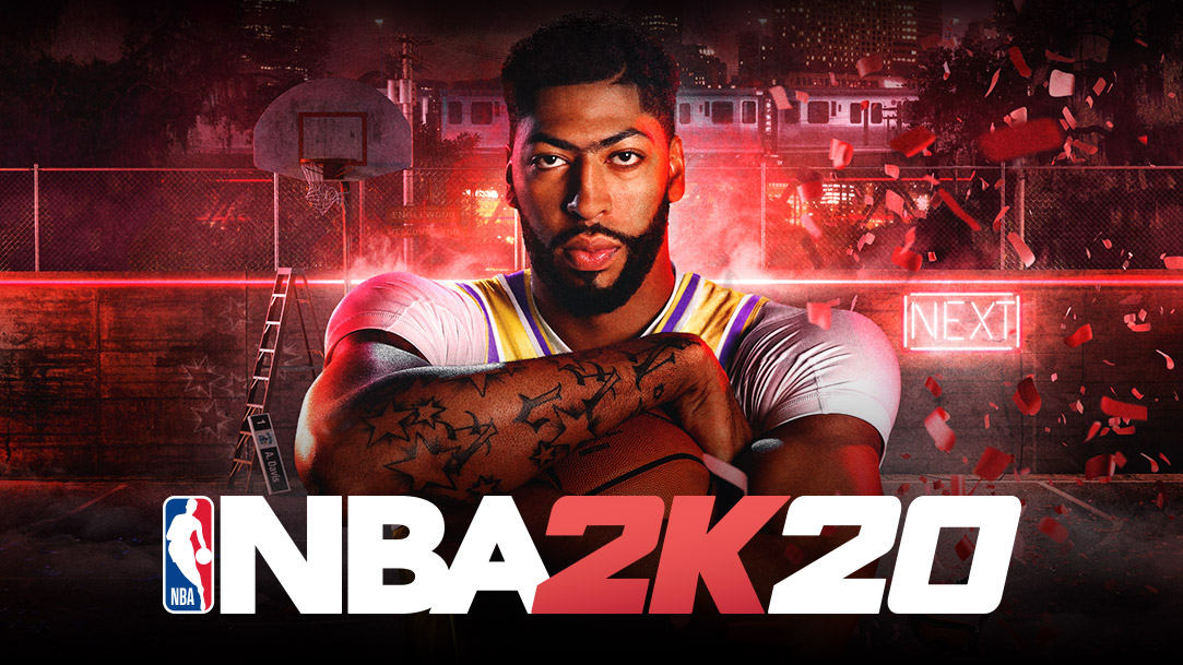 NBA 2K20, animation of confetti falling down around Anthony Davis crossing his arms over a basketball.