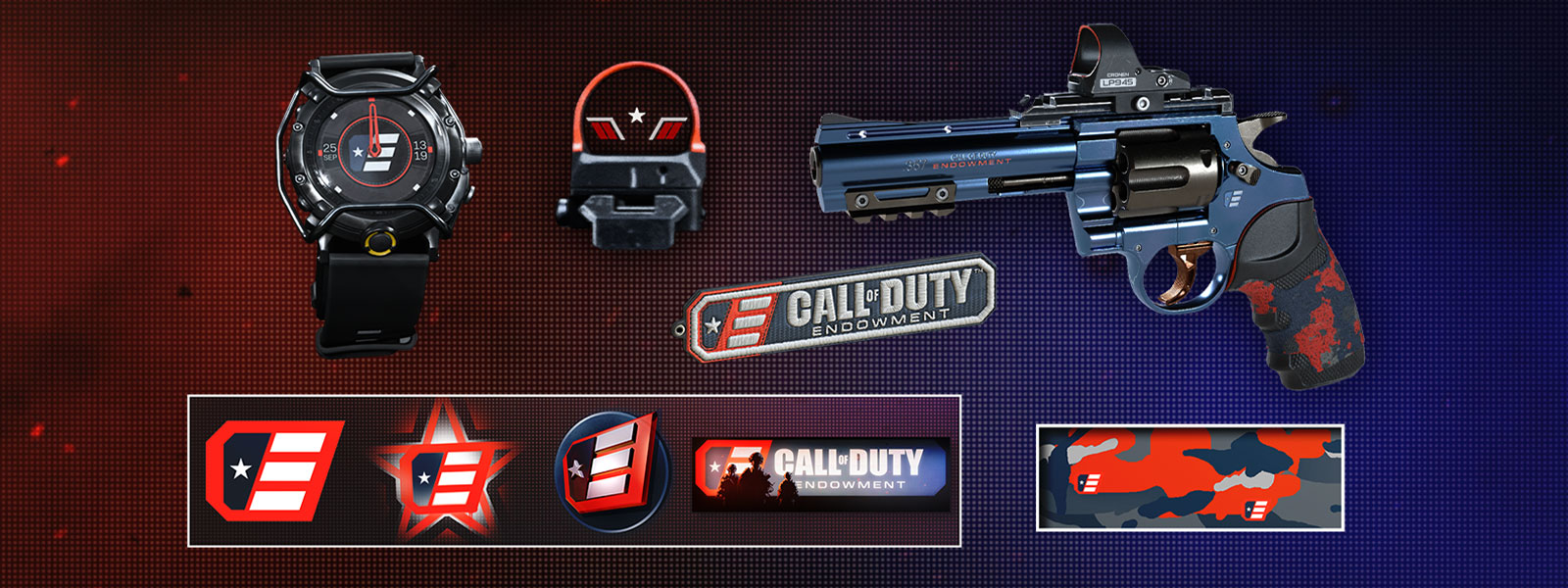 Sideview of the Defender Pistol with Call of Duty endowment themed watch, scope, and dog tags on top of a textured background