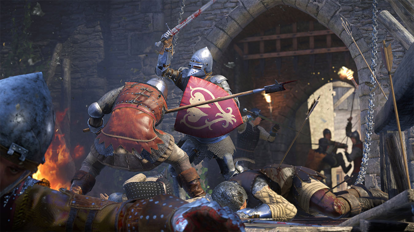 Two characters battle outside in a war outside a town gate