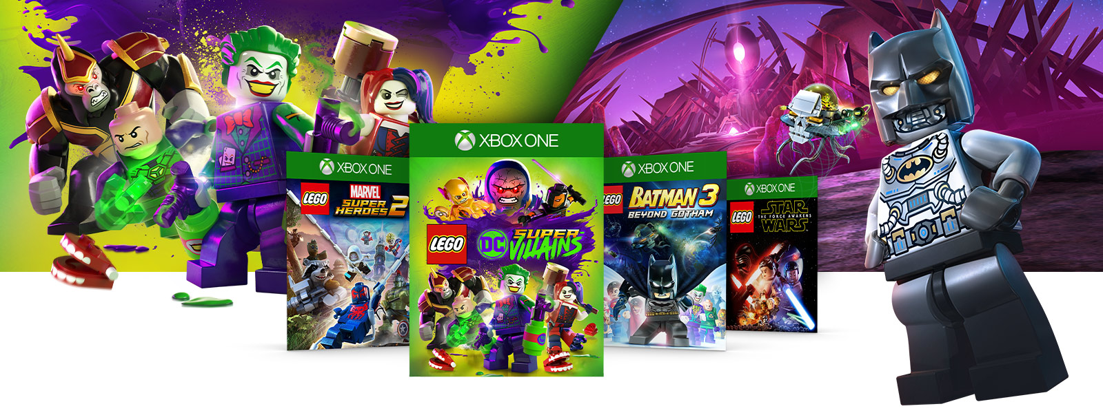 LEGO Batman and several LEGO DC Comics Super Villains next to box art for various LEGO Franchise games