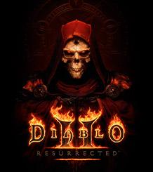 Het Diablo 2: Resurrected-logo over een skelet met gloeiende rode ogen en een donkerrode cape.