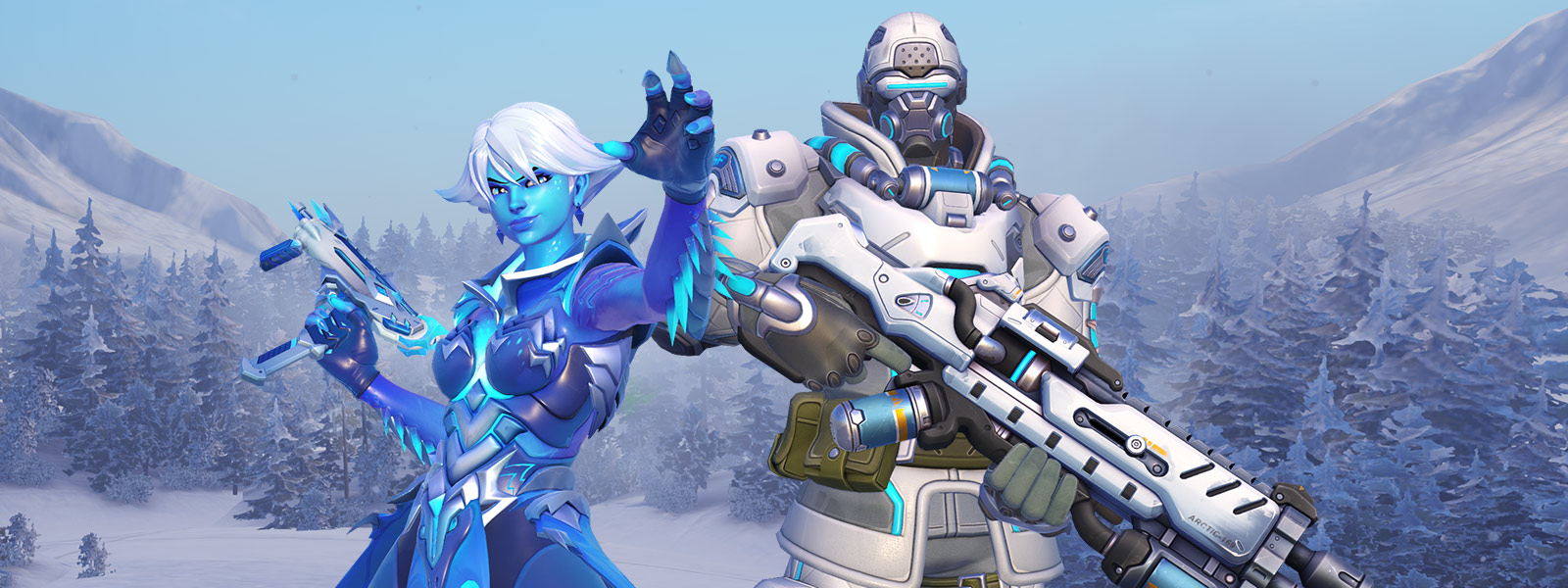 front view of 2 overwatch characters standing in the snow ...