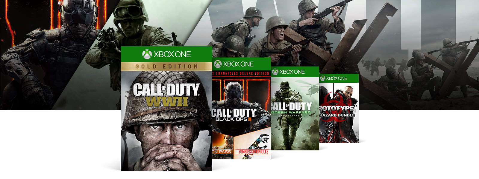 Call of Duty WWI Call of Duty Black Ops 3 Call of Duty Modern Warfare 3 Prototype boxshots