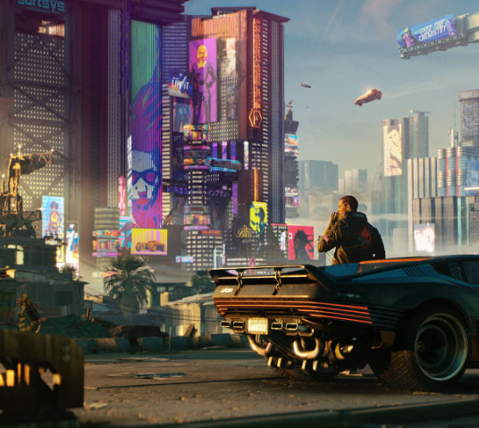 Cyberpunk 2077. V leans up against a car, taking in the views of Night City.