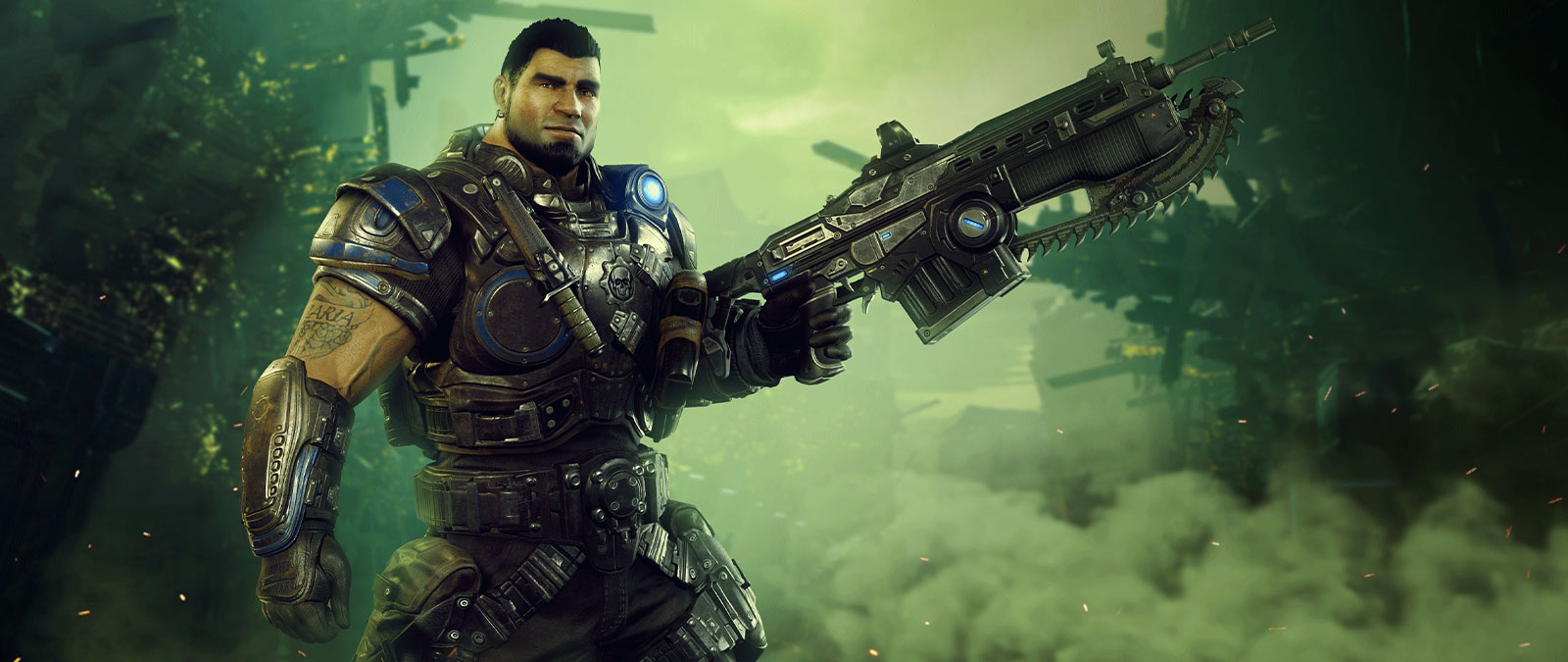 Gears 5 character carrying a large weapon in full armor