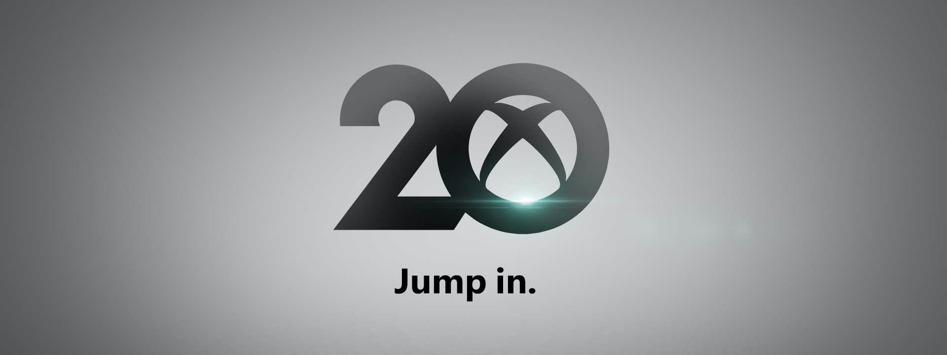 20 sayısında bulunan 0 rakamının içine gömülü Xbox bağlantı logosunun bulunduğu açık gri arka plan. Alt kısımda jump in ifadesinin yer aldığı metin