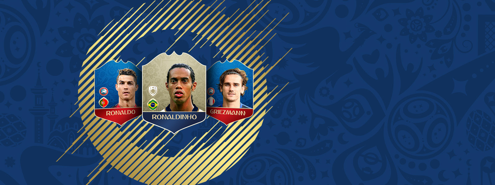 Image of FIFA Ultimate Team player badges for Ronaldo, Ronaldinho and Griezmann