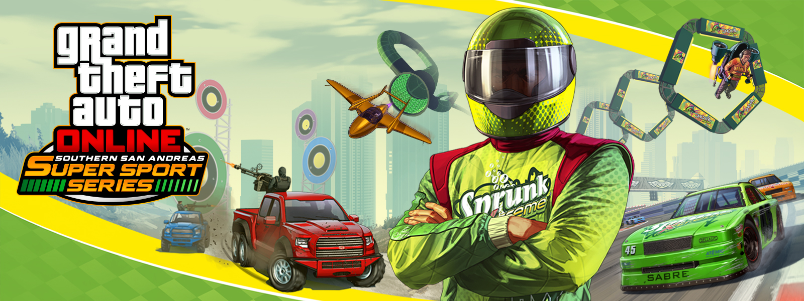 Grand Theft Auto Online Southern San Andreas Super Sports Series, Sprunk Racecar driver stands with his arms crossed in front of many different types of races in the background