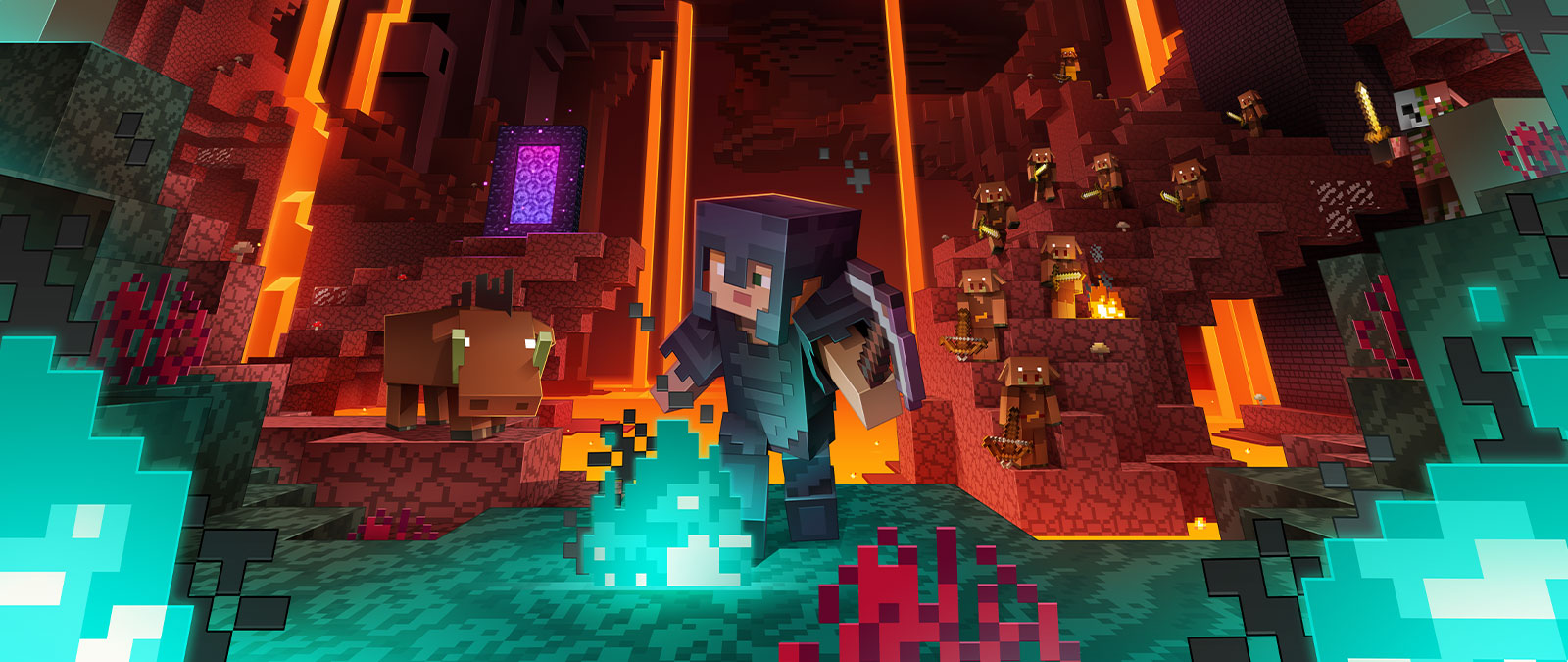 Character from Minecraft exploring the Nether with characters in the back