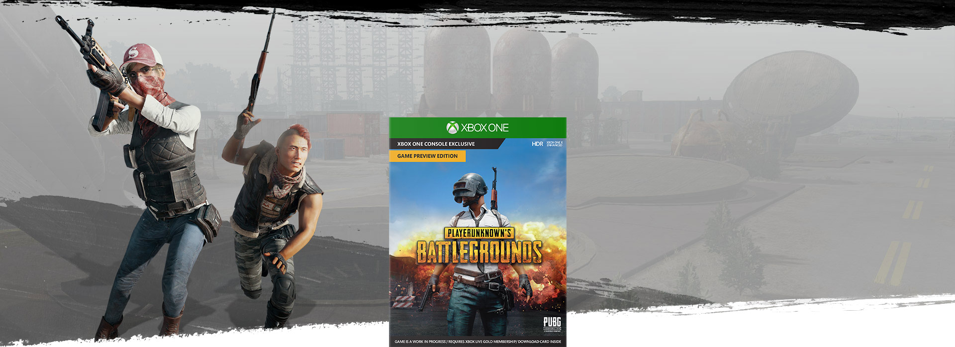 PlayerUnknown's Battlegrounds boxshot, with background image of two weapon wielding characters with military base in the background