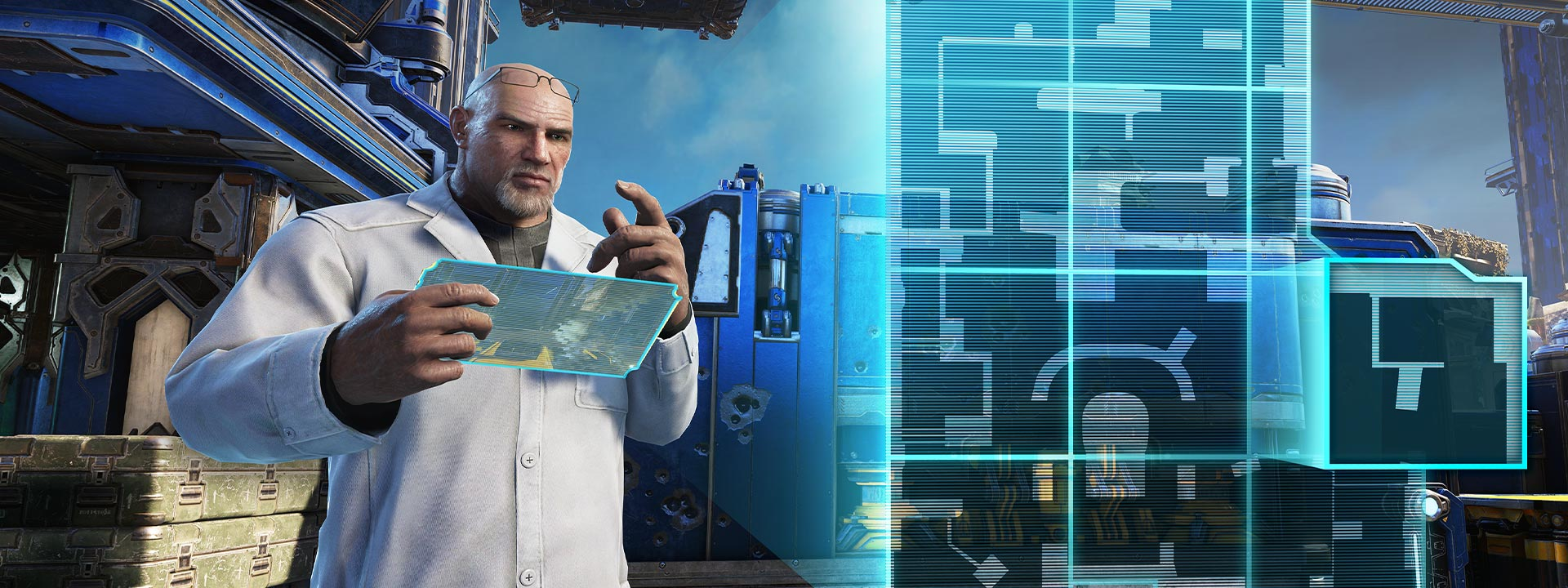 A man in a white lab coat uses a tablet to create a 2d representation of a map